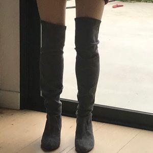 Over knee soft stretch grey suede boots Schutz 7.5